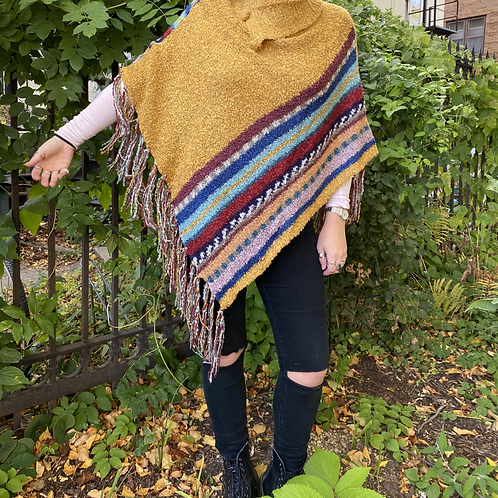 Buttoned Collar Fringe Poncho - Mustard
