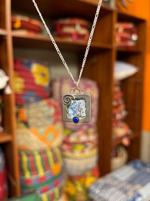 Ancient Roman Glass & Lapis Swirl Pendant