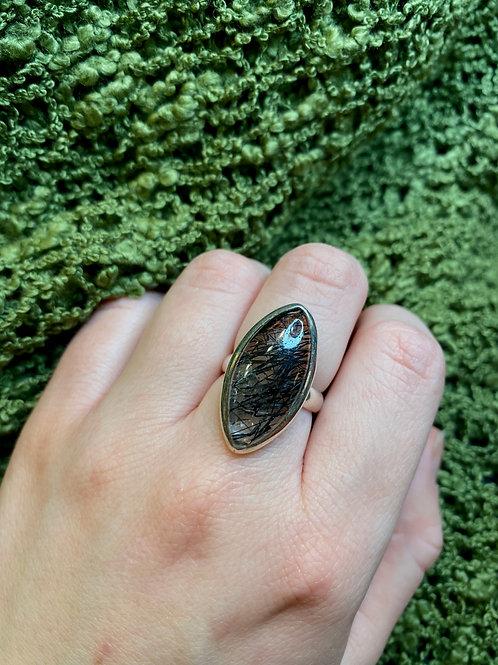 Tourmalated Quartz Marquise Ring