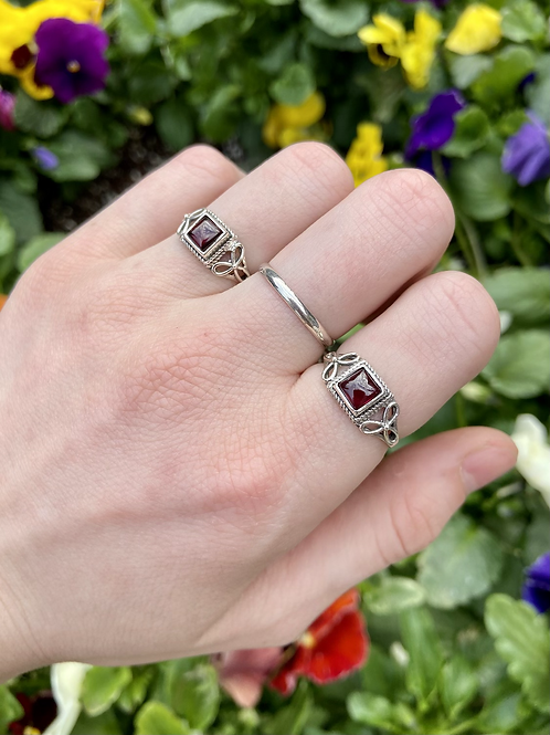 Love Squared Garnet Ring