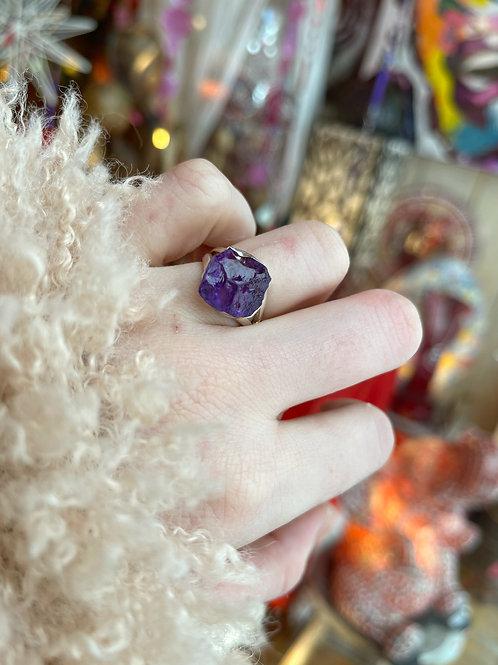 Raw Amethyst Rock Candy Ring