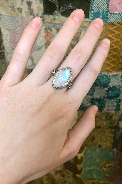 Rainbow Moonstone & Blue Topaz, Bark Textured, Mysterious Marque Ring