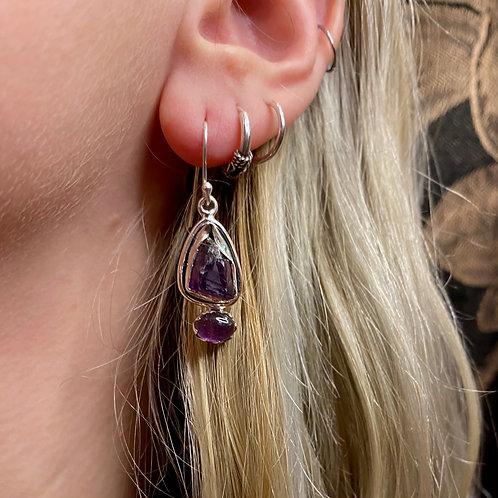 Raw & Polished Amethyst Earrings