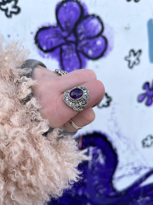 Intricate India Design Amethyst Ring