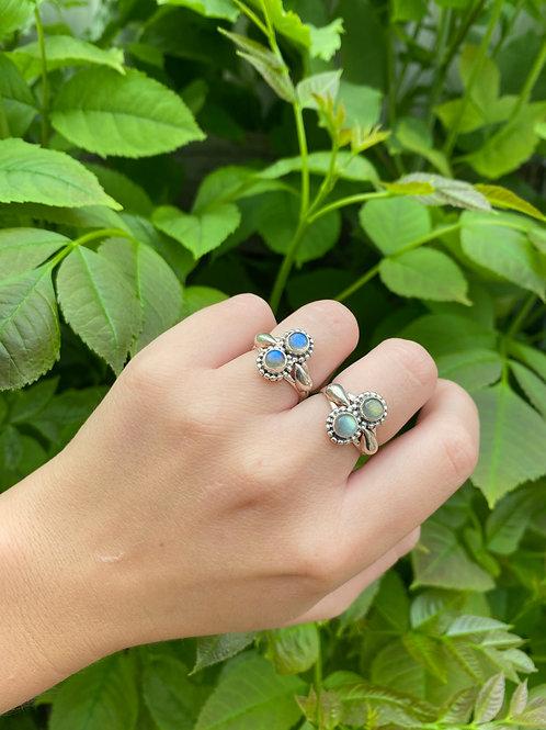 Double Stone Labradorite Ring