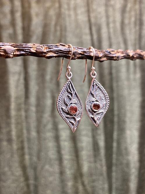 Garnet Fern Earrings