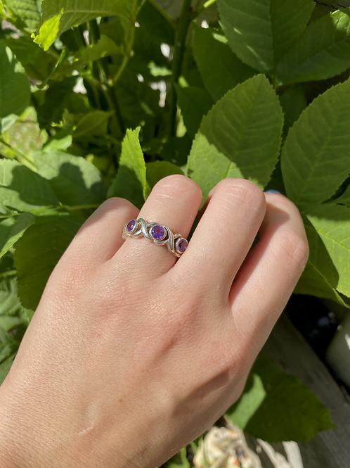 Tri-Stone Amethyst Ring