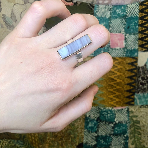 Blue Lace Agate Elegant Ring in Sterling Silver
