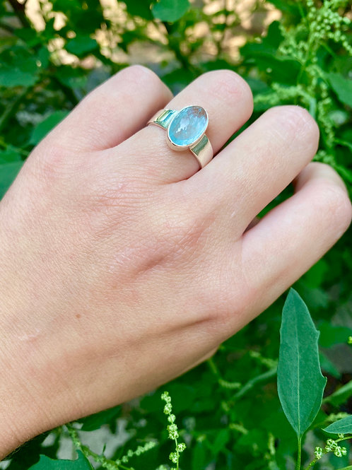 Flat Band Aquamarine Ring