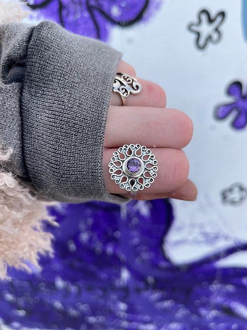 Sun Snowflake Amethyst  Ring