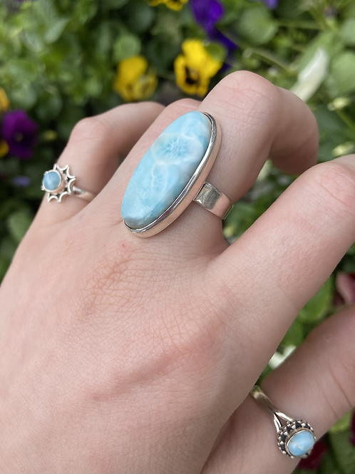 Oval of Opulence Larimar Ring