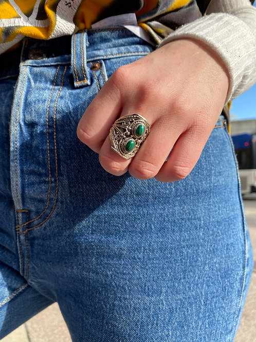 Elevated Double Malachite Ring