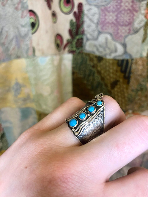 Turquoise Quadruple Stone Stack, Swirl Textured Band, Hand crafted