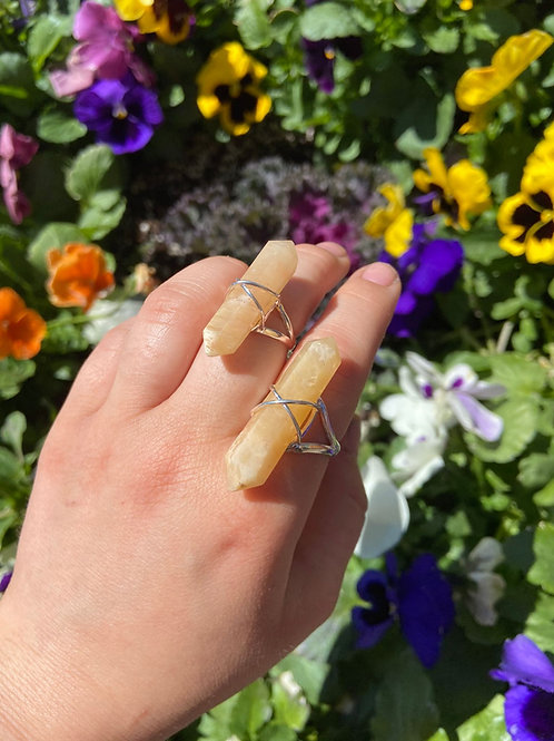 Yellow Calcite Wrapped Ring