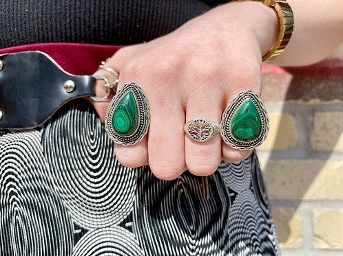 Twisted Teardrop Malachite Ring