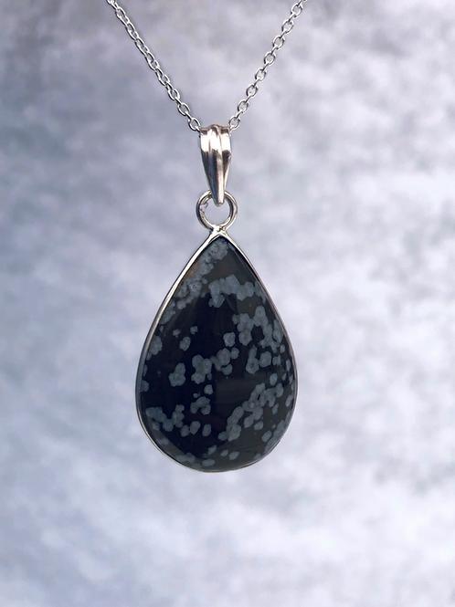 Snowflake Obsidian in Teardrop or Oval Setting