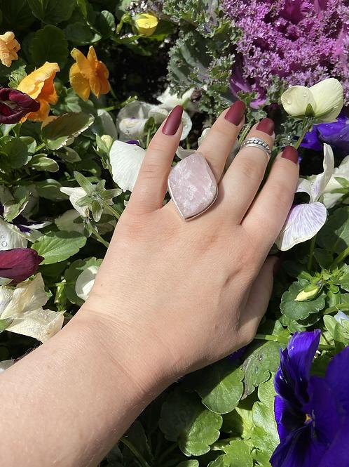 Rough Plains of Rose Quartz Ring