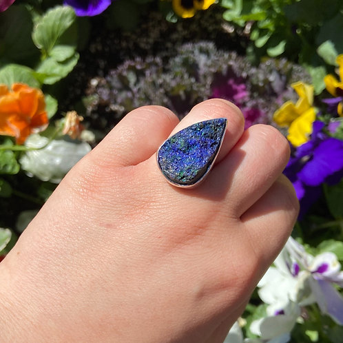 Rough Side of Azurite Ring