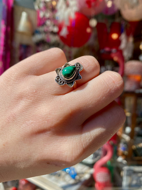 Edgy Malachite Ring