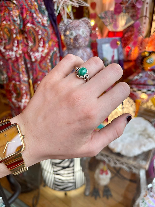 Milky Malachite Ring