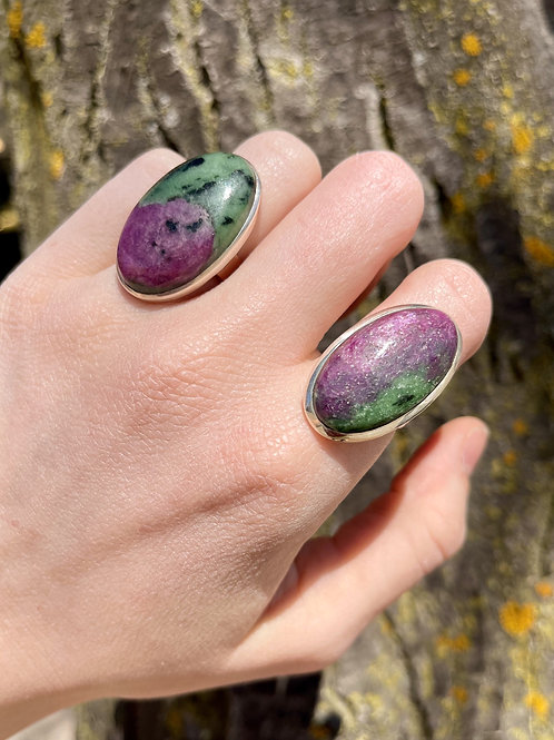 Zestful Ruby and Zoisite Oval Ring