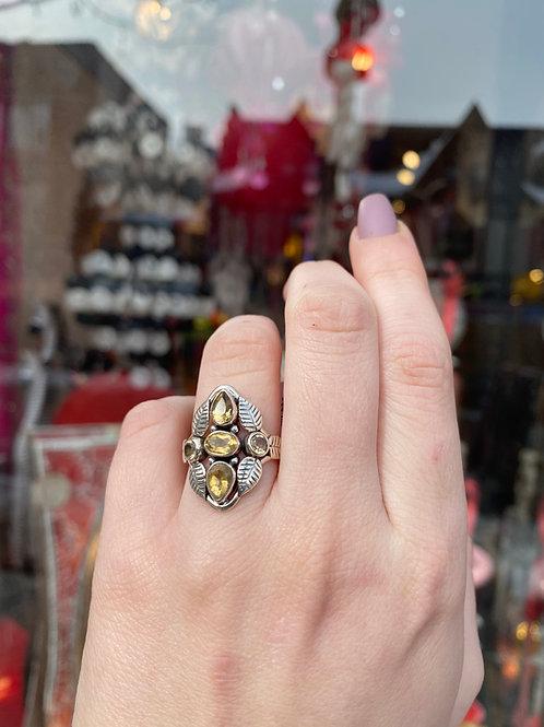 Citrine Crystal & Foliage Ring