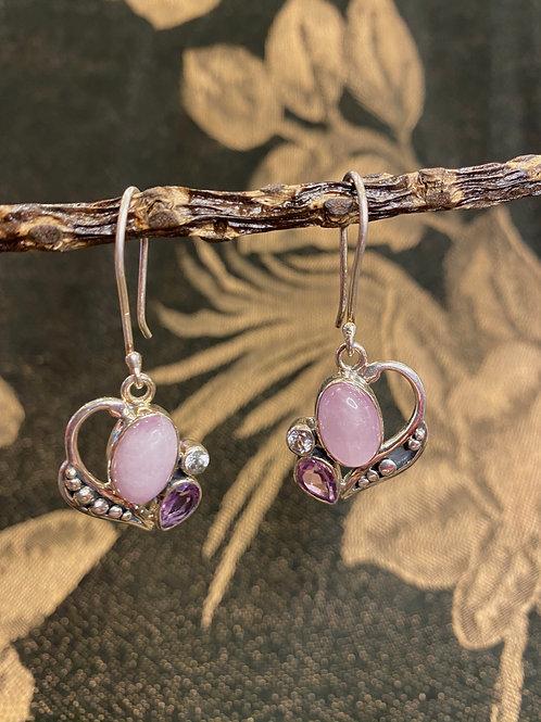 Purple Jade + Amethyst Earrings