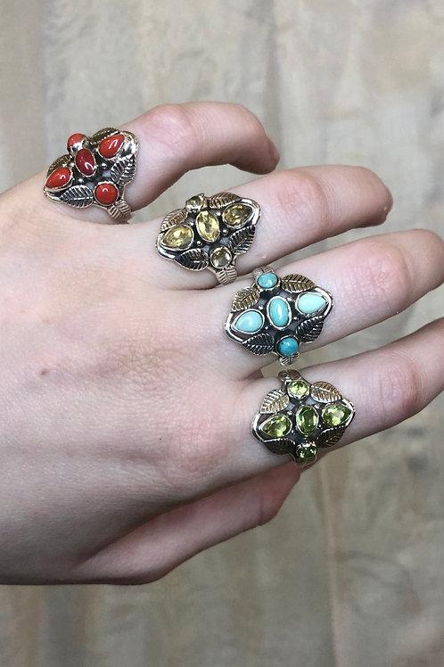 5 Stone & 6 Leaf Boho Sterling Silver Ring