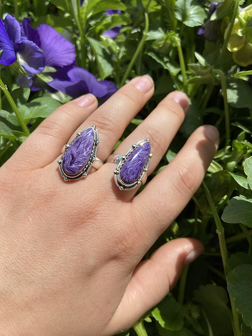 Charoite Pear Shaped Ring