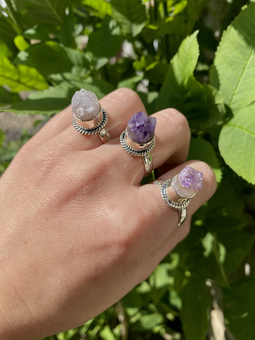 Raw Amethyst Crystal Ring