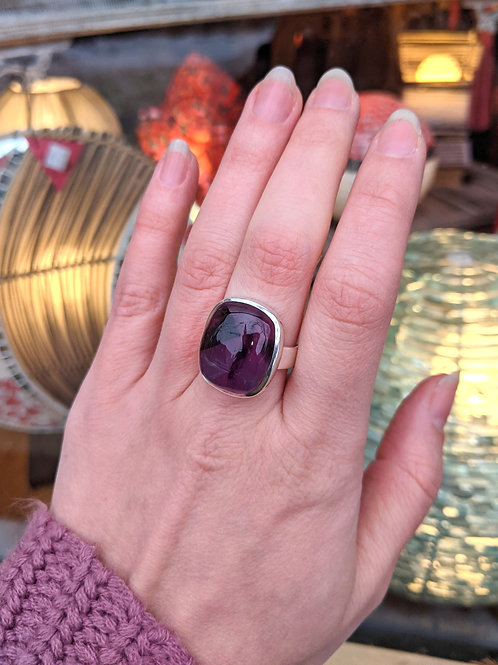 Strong Square Amethyst Ring