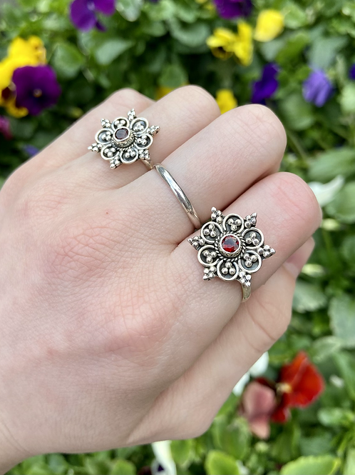 Blooming Flower Garnet Ring