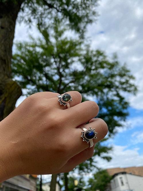 Beaded Halo Labradorite Ring