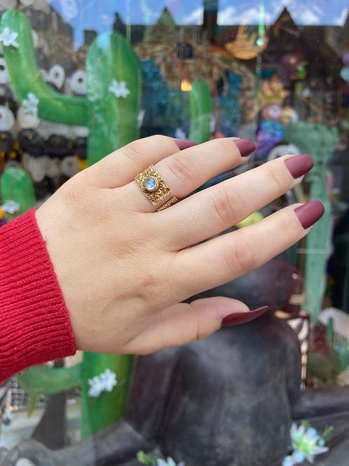 Golden Eye Moonstone Ring