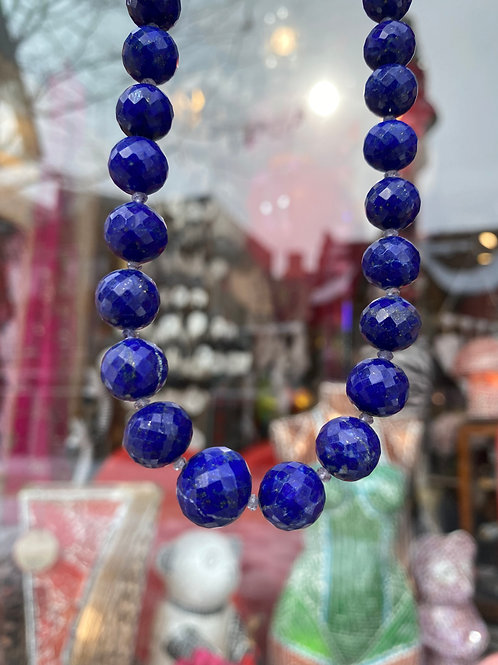 Faceted Chunky Lapis Chain