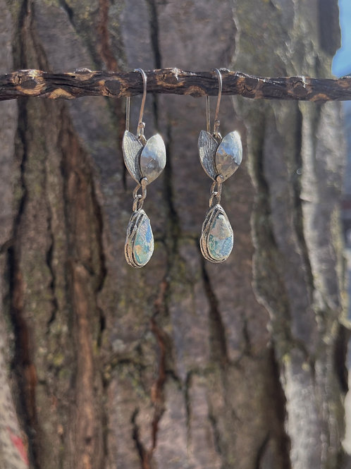 Roman Glass Teardrop with Silver Leaves