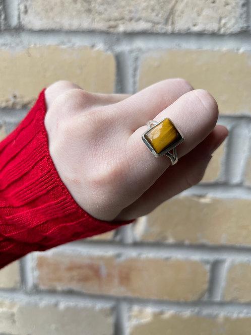 Reflective Rectangle Tiger Eye Ring