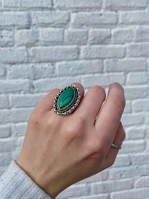 Bordered Marquise Malachite Ring