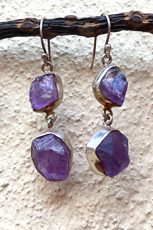 Cluster Dangle Amethyst Earrings