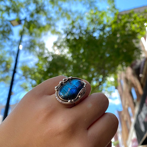 Wire-Wrap Labradorite Ring
