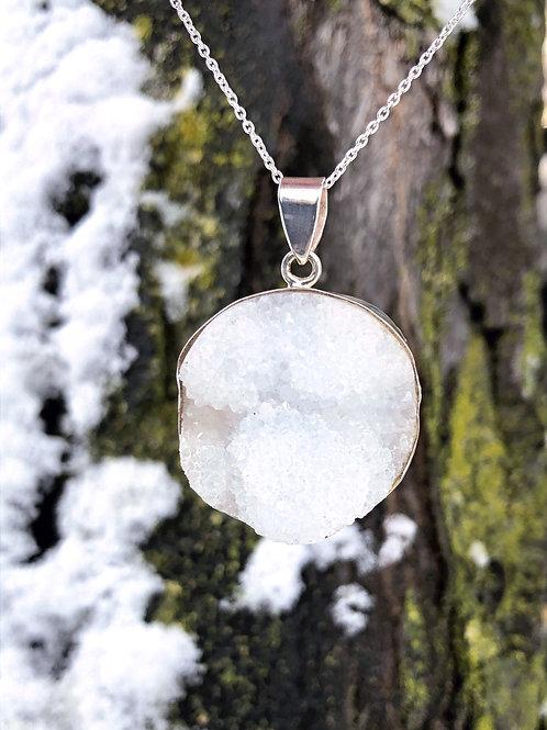 Crystal Snowball Druze Pendant