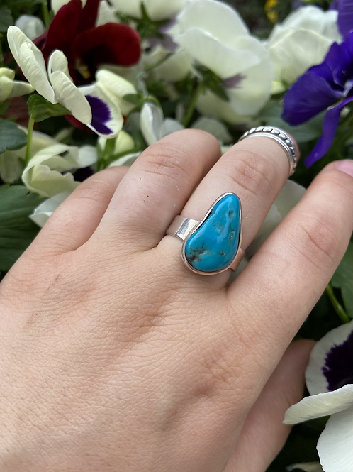 Raw Turquoise Pear Ring