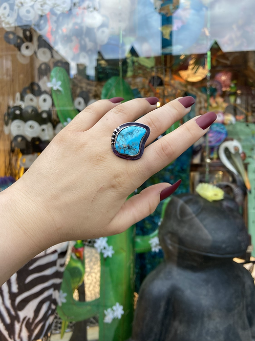 Dotted Raw Turquoise Ring