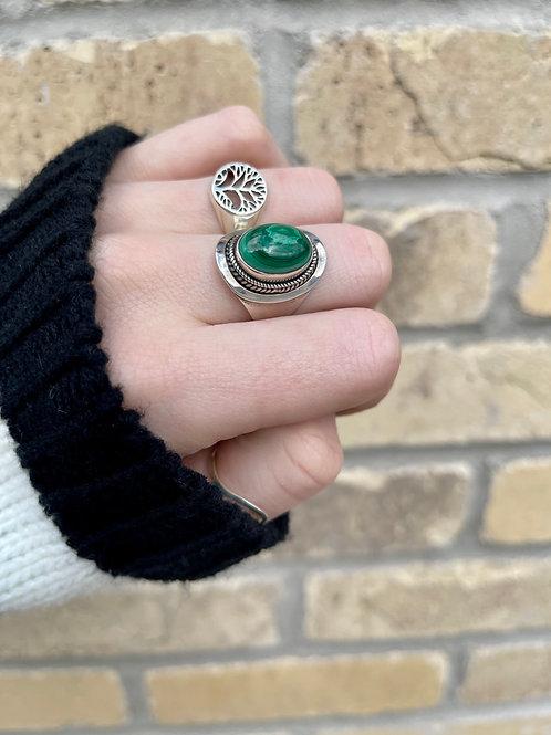 Whirlpool Malachite Ring