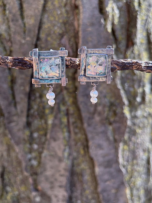 Roman Glass and Freshwater Pearl Earrings