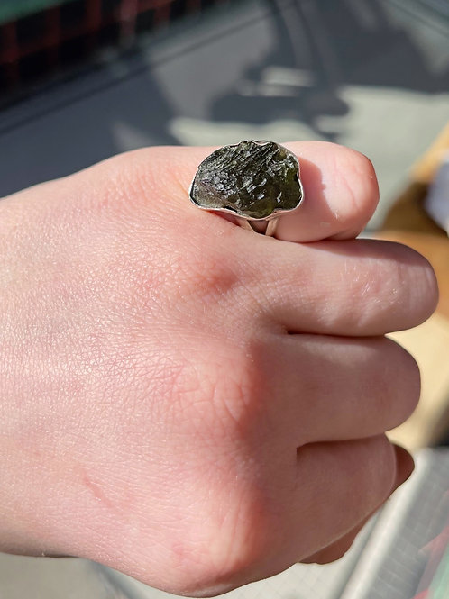 Finger Print of Space Moldavite Ring