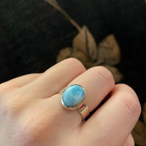 Circular Larimar Ring