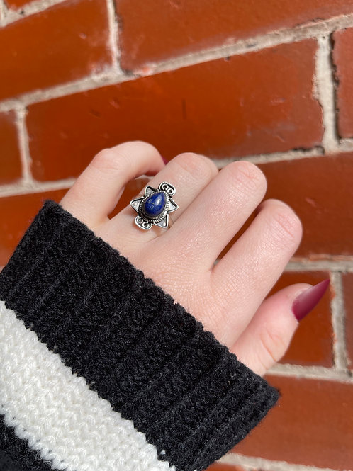 Spiked Teardrops Lapis Ring