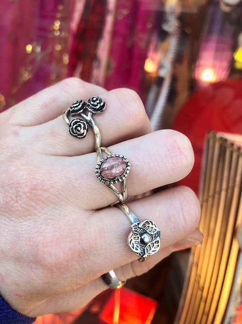 Claw Prong Rhodochrosite Ring