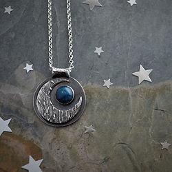 Blue Moon Necklace, Prairie grass, ticklegrass, Sterling silver with Apatite Gemstone by G
